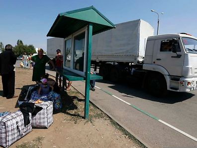 Der Konvoi passierte die Grenzs in Donetsk.
