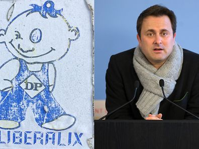 Liberalix DP's '80s mascot and PM Xavier Bettel.