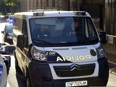 A Police van carrying the parents of  Ashya King, the five-year-old British boy with a brain tumour who was taken from hospital without medical consent, arrive at the courthouse in Madrid on September 1, 2014.