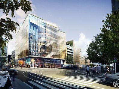Haut de 33 mètres, le Departement Store doit ouvrir à la mi-2018, plus d'un an avant l'achèvement complet des travaux du vaste projet Royal-Hamilius.
