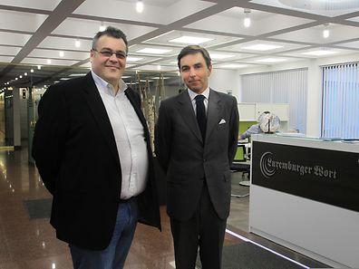 Carlos Pereira Marques (à dta) foi recebido nas instalações do Wort pelo chefe de edição do CONTACTO, José Luís Correia (à esq.)