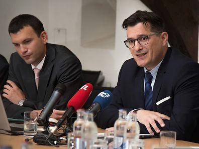 Arsène Jacoby (à dr.) et André Hansen ont présenté le bilan 2014 de l'Office du Ducroire. (Photo:Gerry Huberty)