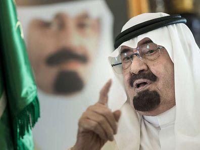 Saudi King Abdullah bin Abdulaziz al-Saud speaking prior to a meeting with US Secretary of State John Kerry