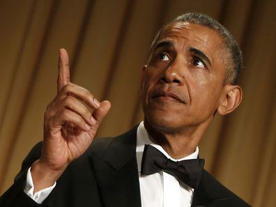US President Barack Obama speaks at the White House Correspondents' Association Dinner in Washington, DC on April 25, 2015. AFP PHOTO/YURI GRIPAS