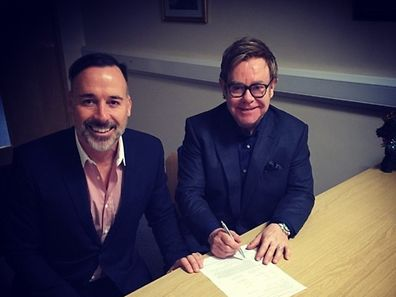 Elton John und sein frischgebackener Ehemann.