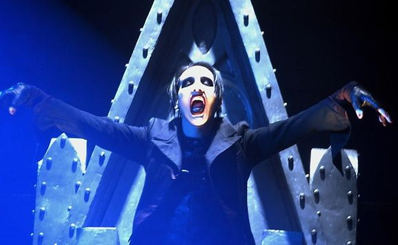 Marilyn Manson performs with trademark ghoulishness at a concert in Zurich, Switzerland