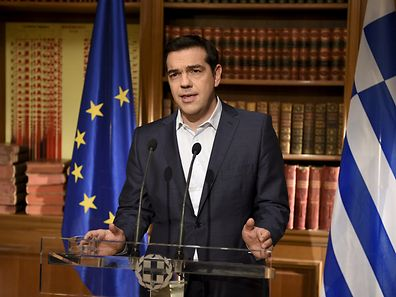 Greek Prime Minister Alexis Tsipras giving a televised speech