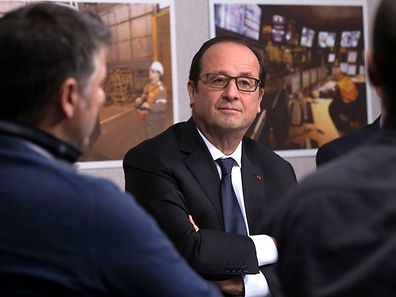 François Hollande traf Mitarbeiter von ArcelorMittal in Florange.
