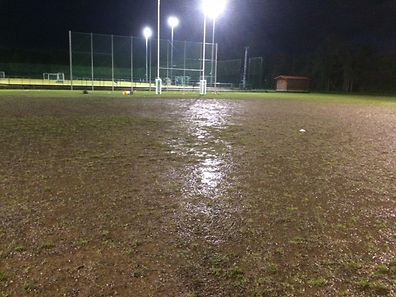 Waterlogged and grassless, the rugby pitch at Cessange's Stade Boy Konen