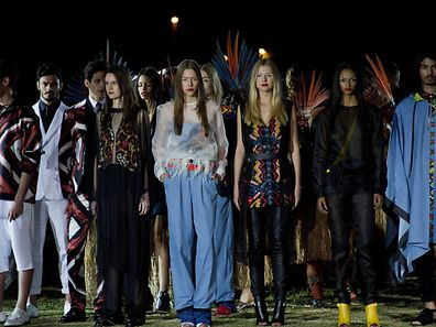 Models present creations by Cavalera during the 2016 Summer collections of the Sao Paulo Fashion Week in Sao Paulo, Brazil, on April 13, 2014. AFP PHOTO / NELSON ALMEIDA