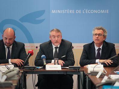 Etienne Schneider, SNCI president Patrick Nickels and Finance Minister Pierre Gramegna (l.t.r.)