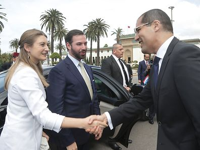 Luxembourg's Hereditary Grand Duchess and Grand Duke are greeted by  Khalid Safir, wali of the Greater Region of Casablanca and Council President