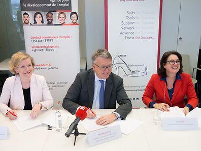 Isabelle Schlesser, Labour Minister Nicolas Schmit and Jill Griffin (l.t.r.)