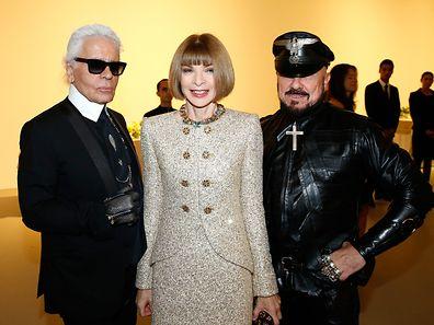 """Stilikone Karl Lagerfeld, """"Vogue""""-Chefredakteurin Anna Wintour und Architekt Peter Marino (v.l.n.r.)"""