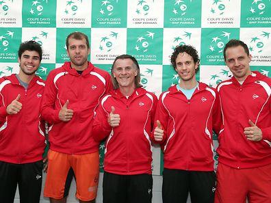 Das Luxemburger Davis-Cup-Team mit Ugo Nastasi, Gilles Muller, Kapitän Johny Goudenbour, Gilles Kremer und Mike Scheidweiler (v. l. n. r.).