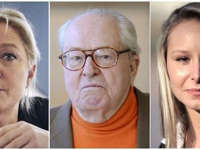 A combination made on April 13, 2015 shows files pictures of French far right Front National (FN) party' president Marine Le Pen (L), Front National's honorary president Jean-Marie Le Pen (C) and of  Marion Marechal-Le Pen (R) posing on December 4, 2009 in Paris.  Jean-Marie Le Pen, the founder of France's National Front, said he was pulling out of regional elections on April 13, 2015 after a fierce public spat with his daughter Marine Le Pen who now leads the far-right party.  Asked by the Figaro magazine who should stand in his place, he anointed his granddaughter Marion Marechal-Le Pen, 25, a rising star in the party with social views considered more conservative than Marine's. AFP PHOTO / GAIZKA IROZ / GERARD JULIEN / FRED DUFOUR