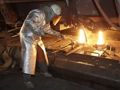 A steel worker at the ArcelorMittal plant in Differdange
