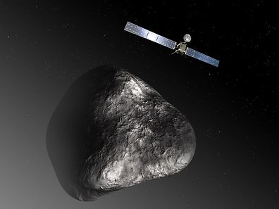 Diese Illustration zeigt den Satelliten Rosetta und den vier Kilometer im Durchmesser großen Kometen Tschuri. Zehn Jahre lang war Rosetta zu ihm unterwegs.