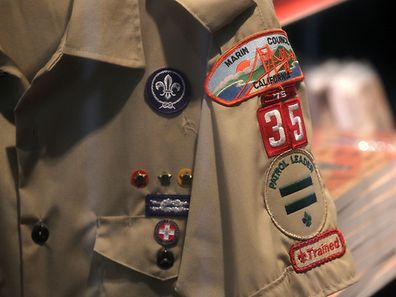 SAN RAFAEL, CA - JULY 27: A Boy Scout uniform hangs in a store at the Marin Council of the Boy Scouts of America on July 27, 2015 in San Rafael, California. The national executive board of the Boy Scouts of America is poised to vote to end a ban on gay adult leaders.   Justin Sullivan/Getty Images/AFP == FOR NEWSPAPERS, INTERNET, TELCOS & TELEVISION USE ONLY ==