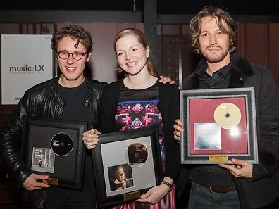 From left to right: Michel Reis (jazz), Cathy Krier (classical) Alain from Natas Loves You (Pop/rock/electro) all winners of music:lx export awards