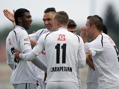 Dudelange celebrates after the team's third goal against Ettelbrück