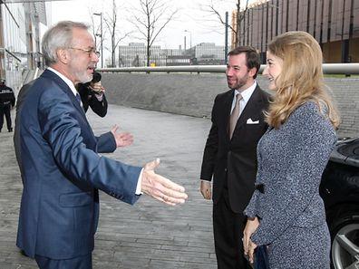 Le président de la Banque européenne d'investissement, Werner Hoyer, a accueilli le couple princier mercredi au siège de la banque, au Kirchberg.