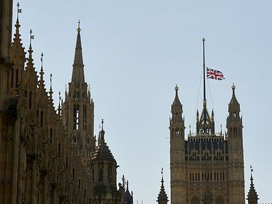 The British union jack flag flies at half-mast above the Victoria Tower on the Palace of Westminster, in central London