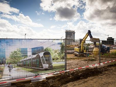 """Work on the """"Tramsschapp"""" in Kirchberg are already underway, with preparations for laying the tracks beginning in January ."""