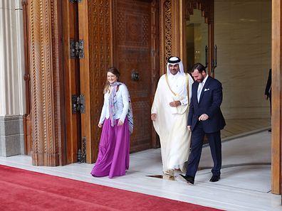 From left: Luxembourg Hereditary Grand Duchy Stéphanie, SE Scheikh Abdullah bin Hamad bin Khalifa, Vice Emir of Qatar and Luxembourg Hereditary Grand Duke Guillaume