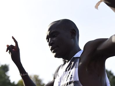 Kenya's Dennis Kimetto reacts after winning the 41th edition of the Berlin Marathon in Berlin on September 28, 2014