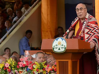The Dalai Lama speaks at an event to celebrate his 80th birthday at Tsuglakhang temple earlier this month