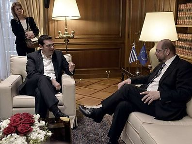 Greek Prime Minister Alexis Tsipras (L) meets with European Parliament Chairman Martin Schulz in Athens on January 29, 2015