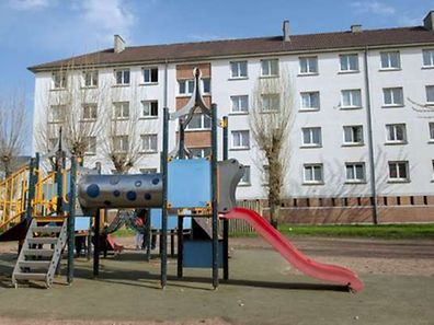 This is the playground in the northern city of Calais where Chloe was kidnapped in front of her mother on April 15