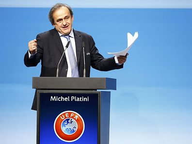 UEFA President Michel Platini delivers a speech after his reelection at the 39th Ordinary UEFA Congress in Vienna March 24, 2015.