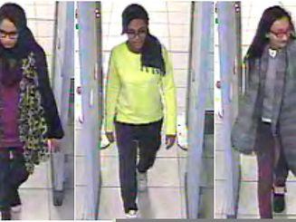 Shamima, Amira unnd Kadiza Sultana (v.l.n.r.) wurden von Kameras erfasst, als sie am Flughafen von London durch eine Sicherheitsschleuse gingen.
