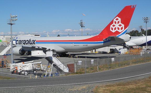 """Voici le """"City of Grevenmacher"""", cinquième Boeing 747-8 de la flotte Cargolux."""
