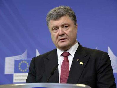 Le président de l'Ukraine Petro Poroshenko lors de la conférence de presse qui s'est tenue ce samedi à Bruxelles.