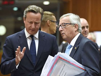 British Prime Minister David Cameron (L) speaks with European Commission president-elect Jean-Claude Juncker during an EU summit at the EU headquarters in Brussels on August 30, 2014.