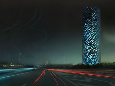 Für zig-tausende Autofahrer wird der neue Wasserturm  ein Orientierungspunkt sein.