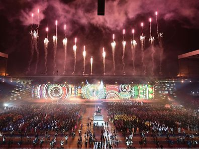 Artists perform during the opening ceremony of the 2014 Commonwealth Games at Celtic Park in Glasgow