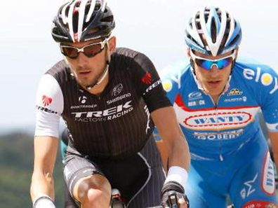 2014 photo of Frank Schleck (Trek Factory Racing) and Jempy Drucker (Wanty-Groupe Gobert), two nominees in this year's sportsman of the year awards