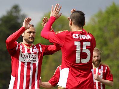 Die Fola-Angreifer Zarko Lukic (l.) und Samir Hadji hatten allen Grund zur Freude.