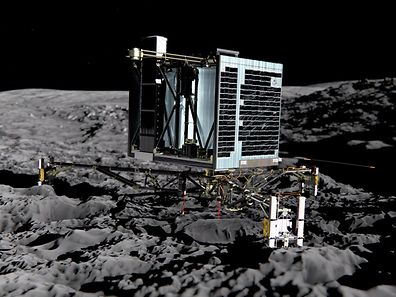 This photo released by the European Space Agency shows an artist impression of Rosetta's lander Philae (back view) on the surface of comet 67P/Churyumov-Gerasimenko