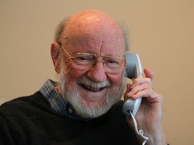 William C. Campbell, a parasitologist and RISE Associate with Drew University, speaks on the phone shortly after learning that he was a co-winner of the Nobel Prize for Medicine, at his home in North Andover, Massachusetts October 5, 2015. Three scientists from Japan, China and Ireland whose discoveries led to the development of potent new drugs against parasitic diseases such as malaria and elephantiasis won the Nobel Prize for Medicine on Monday. Irish-born William Campbell and Japan's Satoshi Omura won half of the prize for discovering avermectin, a derivative of which has been used to treat hundreds of millions of people with river blindness and lymphatic filariasis, or elephantiasis. REUTERS/Brian Snyder