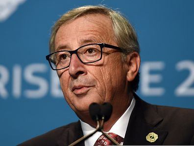 European Commission President Jean-Claude Juncker speaks at a joint press conference with European Council President Van Rompuy (not seen in the picture) at the Convention Center in Brisbane