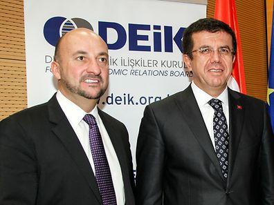 Etienne Schneider (l.) with Nihat Zeybekci