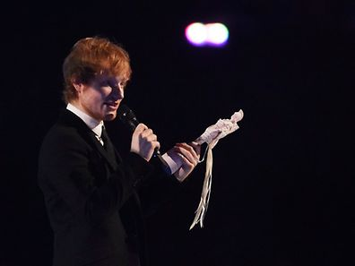 Ed Sheeran receives the award for best solo male artist at the BRIT music awards at the O2 Arena in Greenwich, London, February 25, 2015