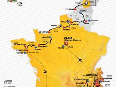 So könnte die Strecke der Tour de France 2015 verlaufen.