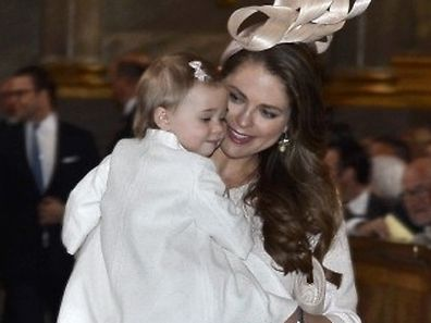 Sweden's Princess Madeleine and her daughter Leonore arrive for a service in the Royal Chapel in Stockholm, Sweden, on May 17, 2015. Prince Carl Philip and his bride-to-be, Sofia Hellqvist, announced their impending marriage at a traditional church service in Stockholm. The wedding will take place on June 13, 2015.  AFP PHOTO / TT NEWS AGENCY / CLAUDIO BRESCIANI   SWEDEN OUT