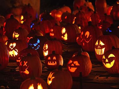 "Jack-o'-lanterns are displayed at the ""Rise of the Jack-O'-Lanterns'' exhibition, featuring more than 5,000 hand-carved, illuminated pumpkins, California,"
